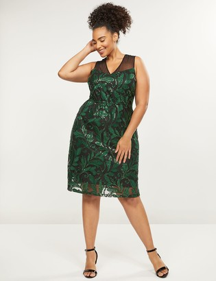 Lane Bryant Embroidered Mesh A-Line Dress