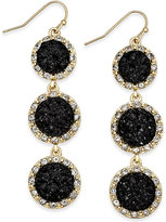 INC International Concepts Gold-Tone Jet Glitter Triple Drop Earrings, Only at Macy's