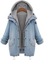 QZUnique Women's Plus Loose Fashion Slim Fit Hooded Cotton Denim Vest Jacket 4XL