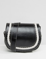 Park Lane Real Leather Cross Body Bag With Contrast Stitching