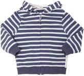 Il Gufo Striped Hooded Zip-Up Cotton Sweatshirt