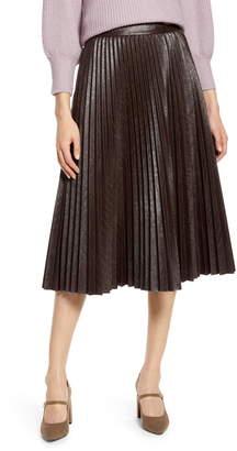 Halogen x Atlantic-Pacific Pleated Croc Faux Leather Midi Skirt