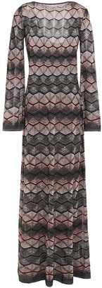 M Missoni Open-back Metallic Crochet-knit Maxi Dress