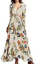 Lettre d'amour Women's V-Neck Bohemian Floral Print Beach Maxi Dress L