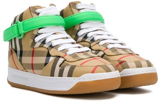 BURBERRY KIDS Checked High Top Sneakers