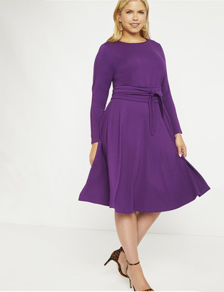 ELOQUII Long Sleeve Fit and Flare Dress