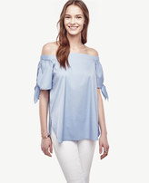 Ann Taylor Poplin Off The Shoulder Blouse
