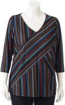 Dana Buchman Plus Size Striped Ribbed Top