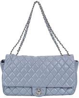 One Kings Lane Vintage Chanel Maxi Gray Rain Jacket Flap Bag - Vintage Lux - gray/silver