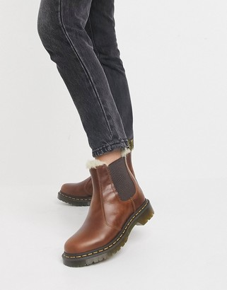 Dr. Martens 2976 Leonore fur lined chelsea boots in brown