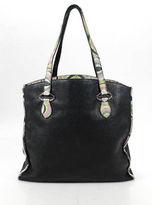 Emilio Pucci Black Leather Abstract Print Trim Large Tote Handbag