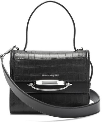 Alexander McQueen The Story Small Crocodile-effect Leather Bag - Black