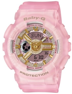 G-Shock Baby-g Women's Analog-Digital Frosted Pink Resin Strap Watch 43.4mm