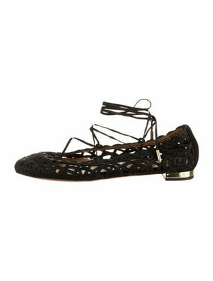 Aquazzura Kya Lace-Up Ballet Flats w/ Tags Black