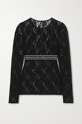 Dolce & Gabbana Jacquard-trimmed Lace Top - Black