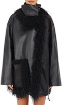 Paco Rabanne Women's Fur-Trimmed Leather & Tech-Fabric Coat-BLACK