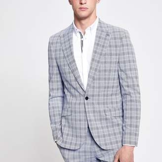 River Island Mens Blue check skinny fit suit blazer