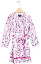 Oscar de la Renta Girls' Long Sleeve Floral Print Dress