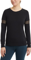 90 Degree By Reflex Women's Tee Shirts BLACK - Black Mesh-Insert Long-Sleeve Top - Women