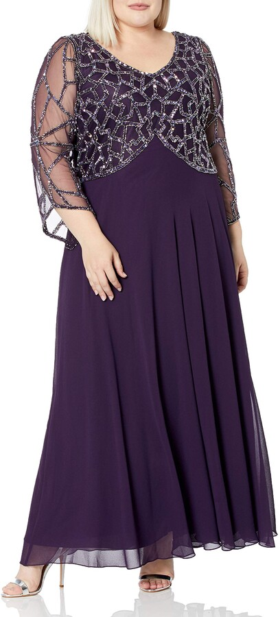 J Kara Women's Plus Size 3/4 Sleeve V-Neck Geometrical Beaded Long Dress