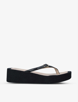 Jacquemus Les Tatanes Lin leather platform flip-flops