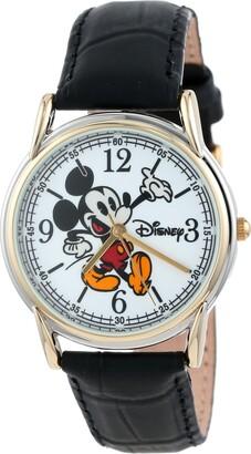 Disney Men's W001013 Cardiff 2-Ton Black Leather Strap Watch