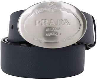 Prada Engraved Bucklle Leather Belt