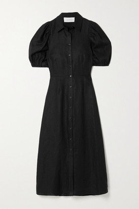 Les Rêveries Linen Shirt Dress - Black