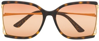 Gucci Tortoiseshell Square-Frame Sunglasses