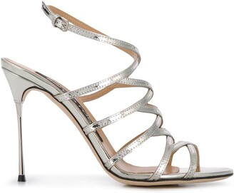 Sergio Rossi Godiva Steel strappy sandals