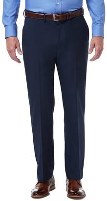 Haggar Mens Premium Comfort Expandable-Waist Classic-Fit Stretch Flat-Front Dress Pants