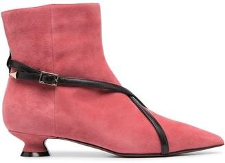 L'Autre Chose Leather-Trim Ankle Boots