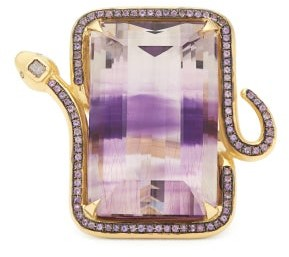 Daniela Villegas Guelaguetza Diamond, 18kt Gold & Amethyst Ring - Purple