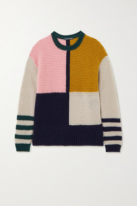 ALEXACHUNG Patchwork Knitted Sweater - Pink
