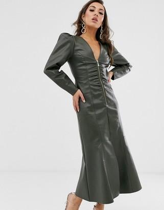 ASOS DESIGN leather look zip through midi dress with pephem