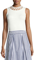 Milly Cutout-Yoke Knit Shell, White