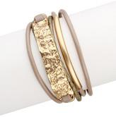 Saachi Taupe Gold Unpaved Bar Leather Bracelet