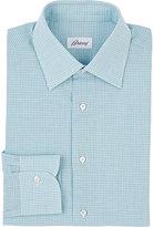 Brioni Men's Micro-Check Cotton-Linen Dress Shirt