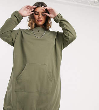 Asos DESIGN Curve hoody sweat dress with front pocket in burnt olive-Green