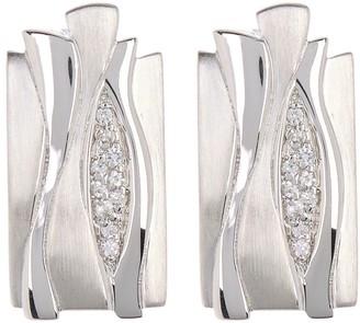 Breuning Sterling Silver Weave Diamond Stud Earrings