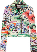 Mary Katrantzou Grace printed leather biker jacket