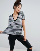 Asos T-Shirt In Camo And Stripe Print