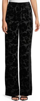 St. John Velvet Floral Burnout Pants