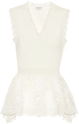 Alexander McQueen Lace-trimmed sleeveless top