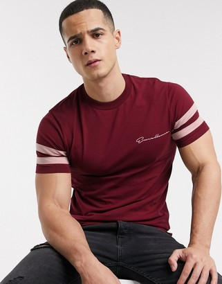 Asos DESIGN skinny t-shirt with sleeve color block and text print