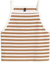 H&M Short Jersey Tank Top - White/beige - Ladies