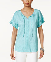 Style&Co. Style & Co Cotton Ruffled Peasant Top, Only at Macy's