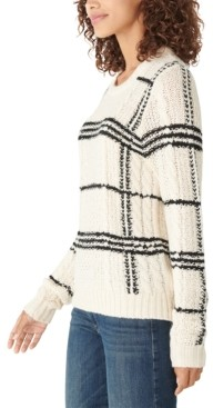 Lucky Brand Plaid Oversized Cable-Knit Sweater