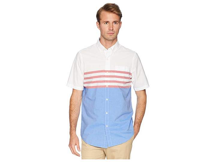 Chaps Short Sleeve Color Blocked Woven Shirt Men's Clothing