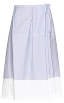 Jil Sander Navy Pleated Cotton Skirt